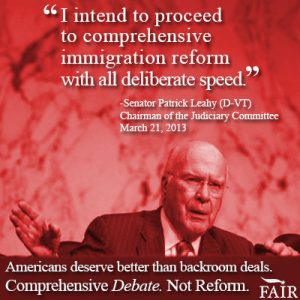 Senator Leahy plans to rush amnesty through Senate. New from FAIR.