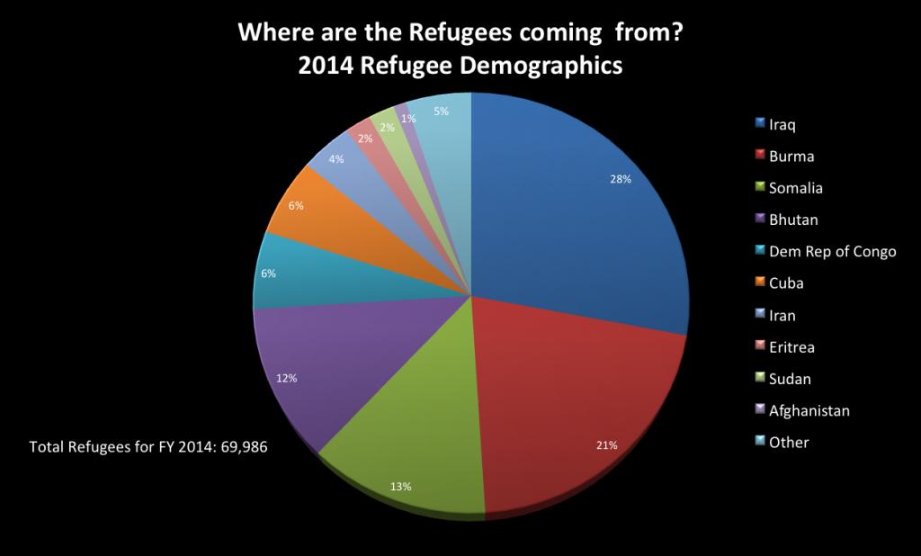 """Source: Office of Refugee Resettlement, """"Refugee Arrival Data, FY 2014 Refugee Arrivals,"""" 2014."""