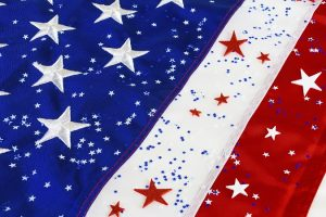American flag close up with star confetti (P)