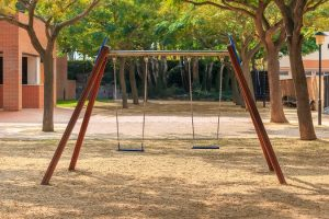 Two seats swings at children's playground