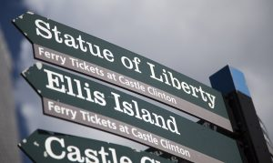 Statue of Liberty signpost in New York City