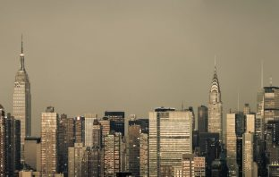 A monochromatic New York City skyline on a grungy morning
